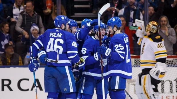 Toronto Maple Leafs Celebrate Goal