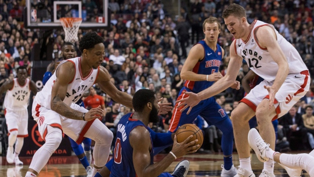 Raptors defend Pistons centre Andre Drummond