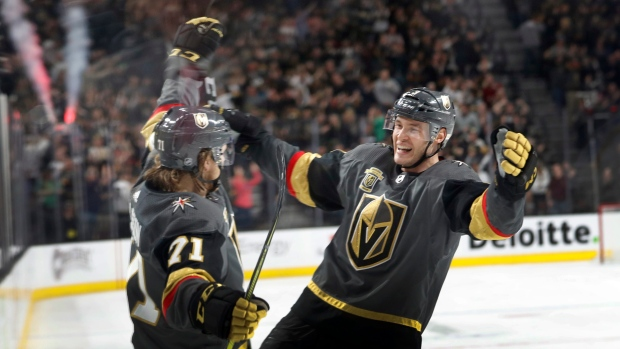 William Karlsson (71) celebrates with teammate Brayden McNabb