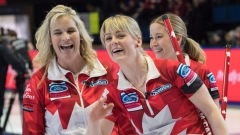Jennifer Jones, Dawn McEwen and Kaitlyn Lawes