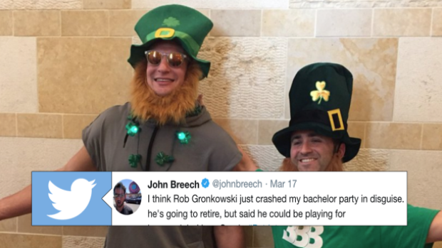Rob Gronkowski dressed as leprechaun