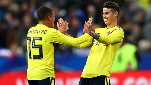 Columbia's Juan Quintero and James Rodríguez celebrate