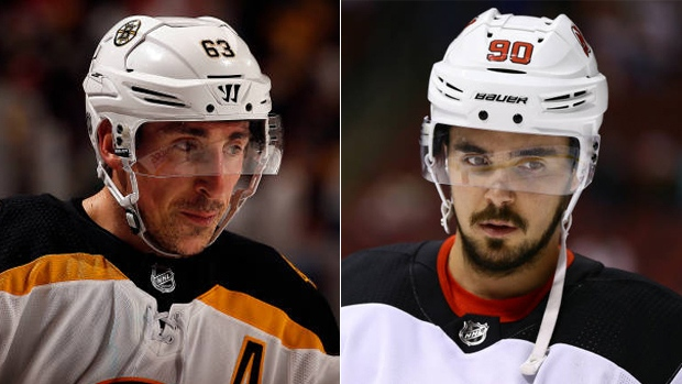 Brad Marchand and Marcus Johansson