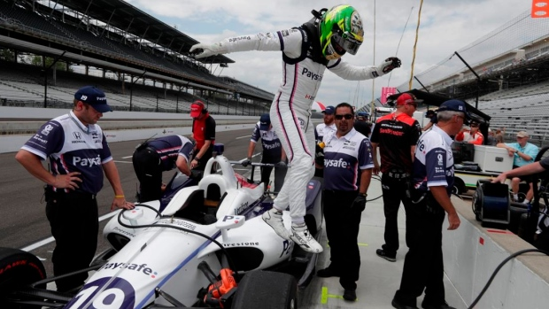Pietro Fittipaldi a spectator at Indy after breaking legs Article Image 0