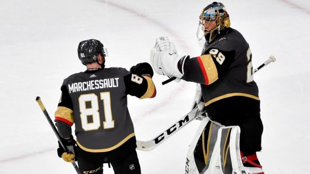 Marchessault and Fleury celebrate