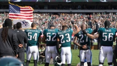 Eagles stand during anthem