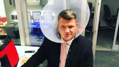 Jeff O'Neill in a cone