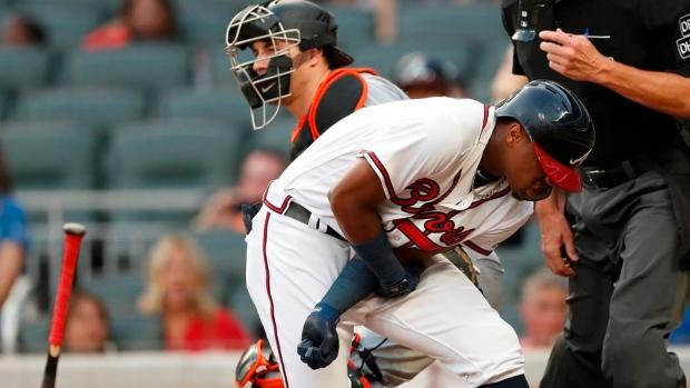 Acuna hit by Urena's first pitch; Braves, Marlins brawl Article Image 0