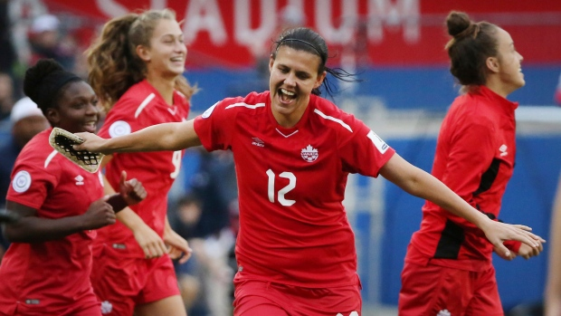 4e1eb3e8dc6 Canada drawn into Group E at 2019 FIFA Women's World Cup · Canadian women's national  soccer team celebrates