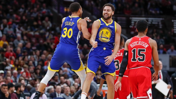 18ac990ea7b Warriors  Thompson sets record with 14 3s in rout of Bulls - TSN.ca
