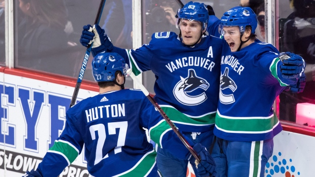 Vancouver Canucks celebrate goal