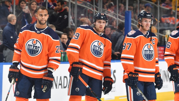Darnell Nurse, Leon Draisaitl and Connor McDavid