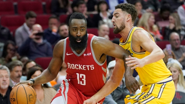 afb1a48cec18 Harden scores 27 as Rockets rout Warriors. The Canadian Press. James Harden