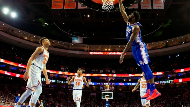 Embiid's double-double powers 76ers past Knicks 117-91