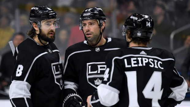 Drew Doughty, Nate Thompson and Brendan Leipsic