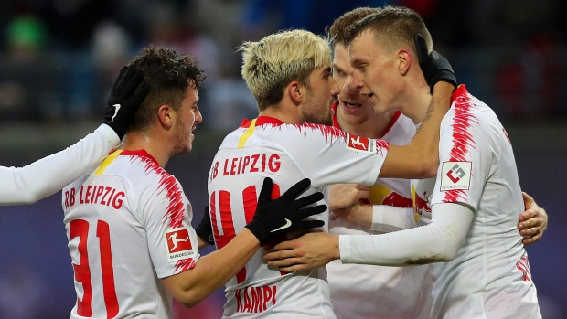 Red Bull Leipzig players celebrate