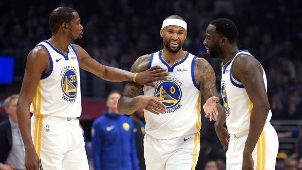 Kevin Durant, DeMarcus Cousins and Draymond Green