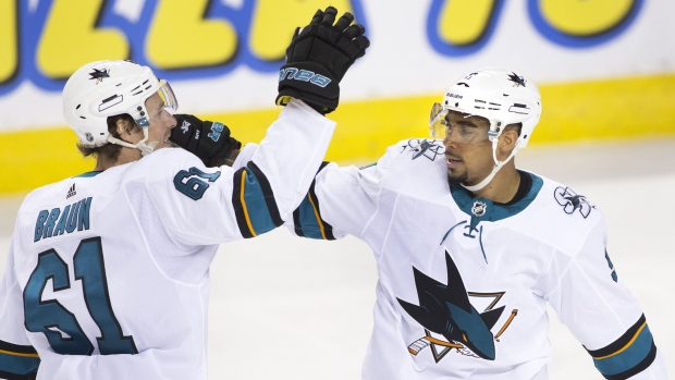 Kane Gets 2 Goals, Assist as Sharks Beat Flames