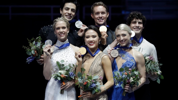 From Left: Kaitlyn Weaver Andrew Poje Madison Chock Evan Bates Piper Gilles Paul Poirier
