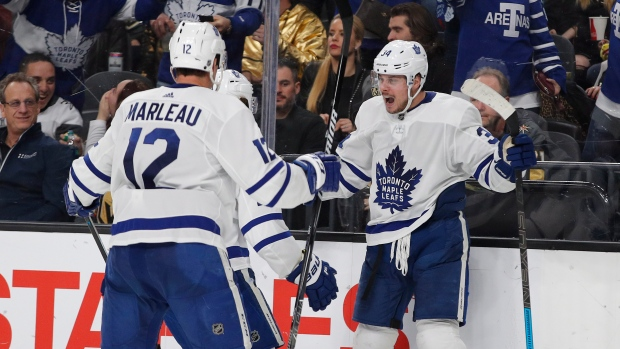 Toronto Maple Leafs center Auston Matthews celebrates