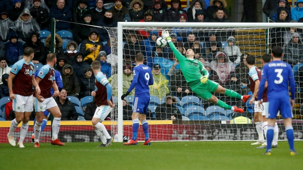 Leicester City's James Maddison scores his side's first goal versus Burnley