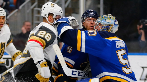 Jordan Binnington, William Carrier and Carl Gunnarsson