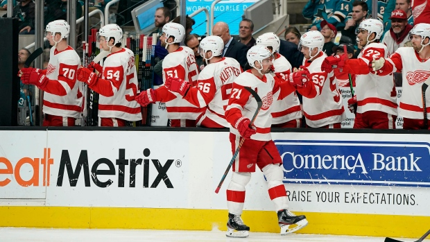 Dylan Larkin and Red Wings Celebrate