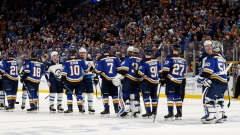 St. Louis Blues Winnipeg Jets shake hands