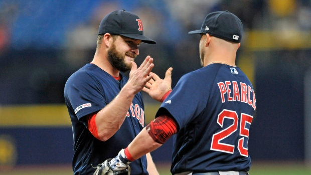 Ryan Brasier and Steve Pearce celebrate