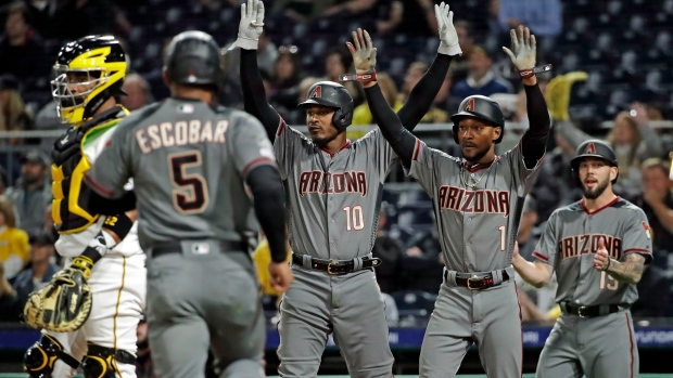 Diamondbacks player celebrate