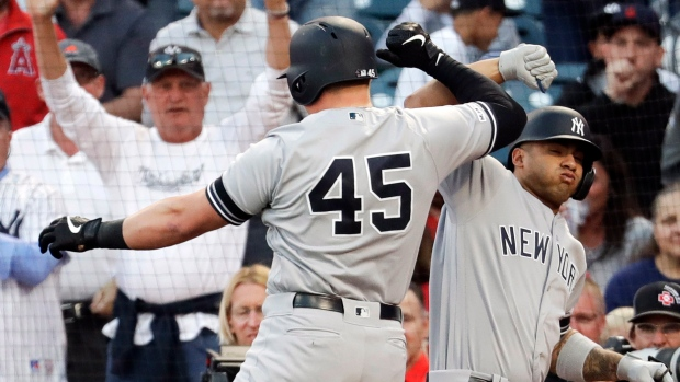 88b873bbe Voit homers twice to lead Yankees over Angels - TSN.ca