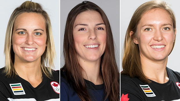 Marie-Philip Poulin, Hilary Knight and Brianne Jenner