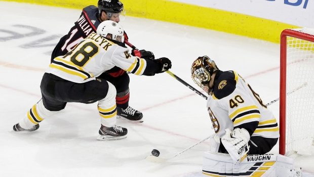 Tuukka Rask makes a save during Game 3 Tuesday.