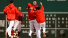 Michael Chavis celebrates with teammates