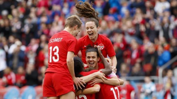 Christine Sinclair and Team Canada Celebrate