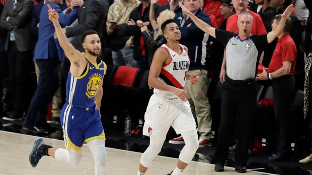 e3dd764657d3 Warriors sweep Trail Blazers to advance to fifth straight Finals