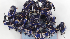 The Blues celebrate after advancing to the Stanley Cup Final on Tuesday.