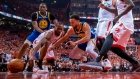 Raptors, Warriors battle for loose ball