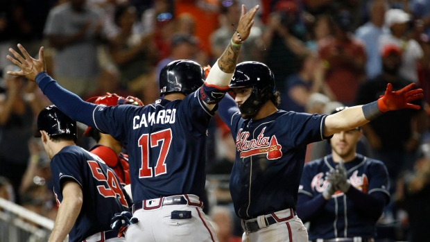 new style ae820 28483 Pinch-hit HR by Johan Camargo in 10th carries Atlanta Braves ...