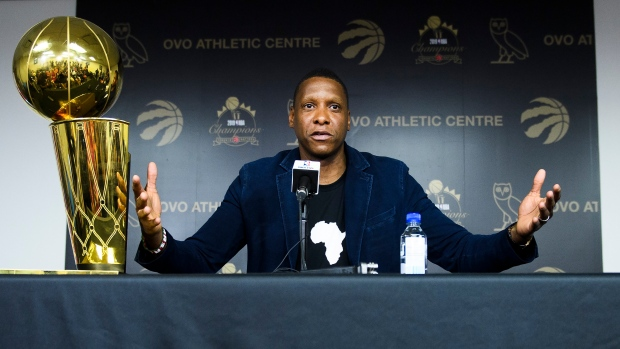 Raptors president Masai Ujiri speaks during Tuesday's year-end press conference.