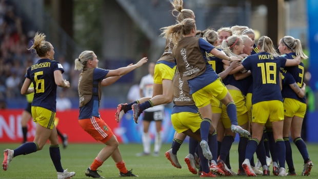 Sweden celebrates, Women's World Cup