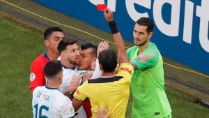 Messi sent off, shown straight red card in heated contest