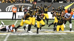 Richard Leonard, Tiger-Cats celebrate