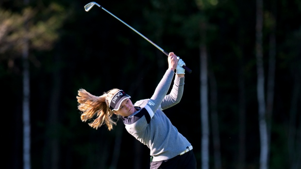 Brooke Henderson hits her approach on the second hole during the CP Women's Open.