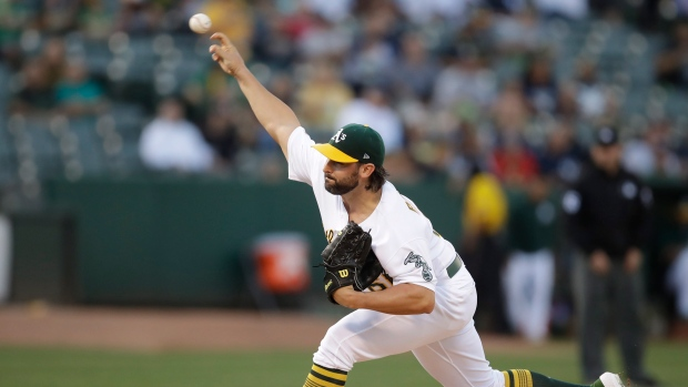 a545bfc72 Tanner Roark pitches Oakland Athletics to sweep of New York Yankees ...