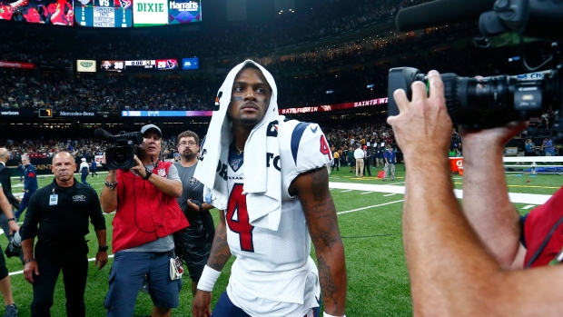 Texans QB Deshaun Watson shows his dejection after Monday's loss to the Saints.