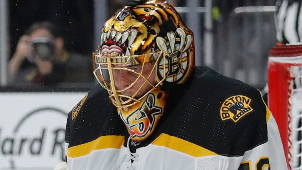 Bruins' Tuukka Rask leaves game after elbow to head