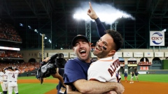 Justin Verlander and Jose Altuve celebrate
