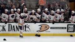 Edmonton Oilers center Connor McDavid is congratulated