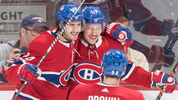 Brendan Gallagher (11) Phillip Danault (24) and Jonathan Drouin